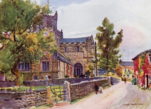 The Priory Church, Cartmel. Illustration for Lancashire painted by Albert Woods and described by F A Bruton (A&C Black 1921).
