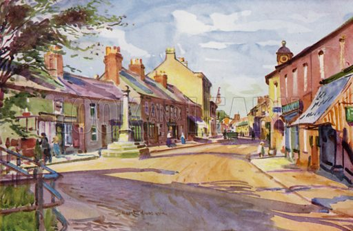 Garstang. Illustration for Lancashire painted by Albert Woods and described by F A Bruton (A&C Black 1921).