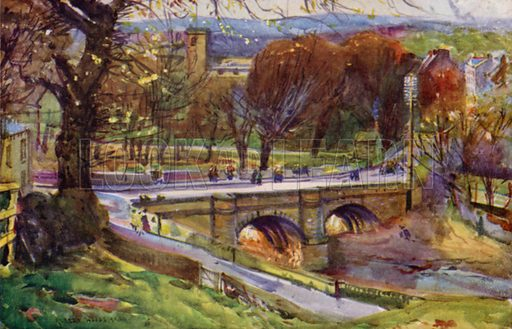 Whalley, the Church and Village. Illustration for Lancashire painted by Albert Woods and described by F A Bruton (A&C Black 1921).