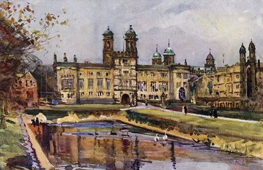 Stonyhurst. Illustration for Lancashire painted by Albert Woods and described by F A Bruton (A&C Black 1921).