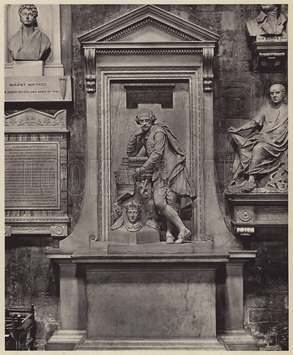 Memorial of William Shakespeare, 1564-1616, Erected in 1740 from designs of William Kent. Illustration for Westminster Abbey and St Margaret's Church by Albert Edward Bullock (J Tiranti, 1920).  Gravure printed.