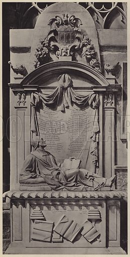 Monument to Dr Richard Busby, 1606-1695, Francis Bird, Sculptor. Illustration for Westminster Abbey and St Margaret's Church by Albert Edward Bullock (J Tiranti, 1920).  Gravure printed.