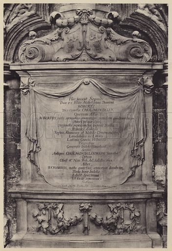Monument to Robert, Viscount Cholmondeley, 1678. Illustration for Westminster Abbey and St Margaret's Church by Albert Edward Bullock (J Tiranti, 1920).  Gravure printed.