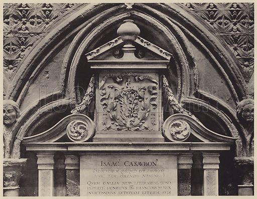 Cenotaph to Monseigneur Issac Casaubon, d 1614, Nicholas Stone, Sculptor. Illustration for Westminster Abbey and St Margaret's Church by Albert Edward Bullock (J Tiranti, 1920).  Gravure printed.