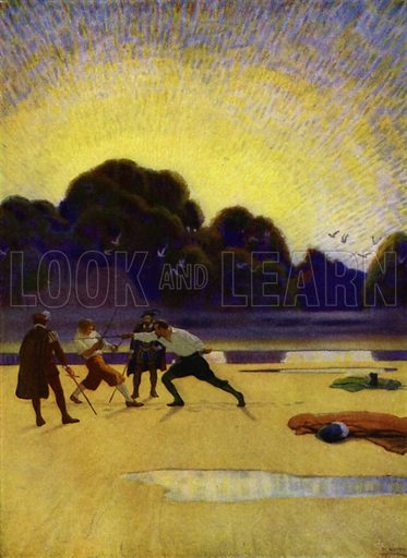 The Duet on the Beach. ... the devil's game is begun in earnest. Illustration for Westward Ho! by Charles Kingsley (Charles Scribner, 1920).