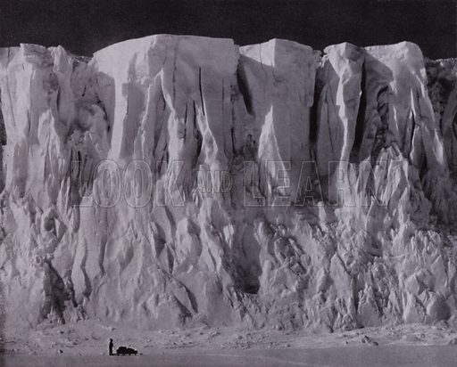 The ramparts of Mount Erebus. Illustration for With Scott to the Pole re-told by Howard Marshall (Country Life, 1936).