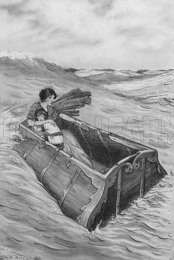 The chest sailed on, however, and neither sank nor was upset. Illustration for A Wonder-Book for Girls and Boys by Nathaniel Hawthorne (Rand McNally, 1913 or later).