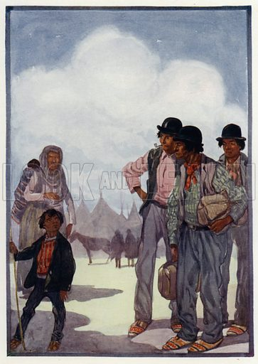 Indians as they are now. Illustration for Round The Wonderful World by G E Mitton (Jack, 1914).