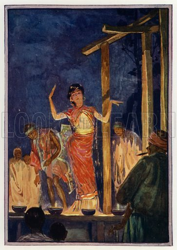 A Burmese play. Illustration for Round The Wonderful World by G E Mitton (Jack, 1914).