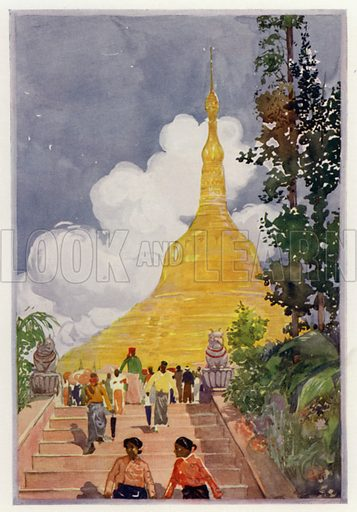 The Golden Pagoda. Illustration for Round The Wonderful World by G E Mitton (Jack, 1914).