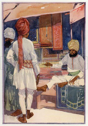 A carpet shop, Delhi. Illustration for Round The Wonderful World by G E Mitton (Jack, 1914).