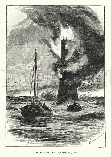 The fire on the lighthouse. Illustration for World of Adventure (Cassell, 1895).