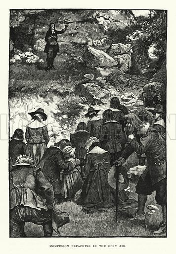 Mompesson preaching in the open air. Illustration for World of Adventure (Cassell, 1895).