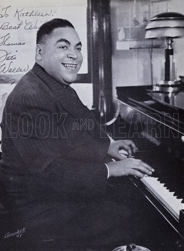 """Thomas """"Fats"""" Waller.  Illustration for the PL Yearbook of Jazz 1946 edited by Albert McCarthy.  Photo credit: Courtesy of Jeff Aldam."""