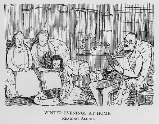 Winter evenings at home; reading aloud. Illustration for Most of US are Absurd by Pont (Collins, 1946).