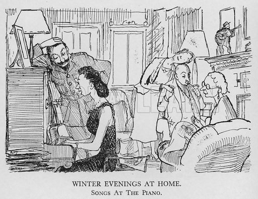 Winter evenings at home; songs at the piano. Illustration for Most of US are Absurd by Pont (Collins, 1946).