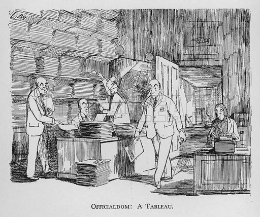 Officialdom, a tableau. Illustration for Most of US are Absurd by Pont (Collins, 1946).