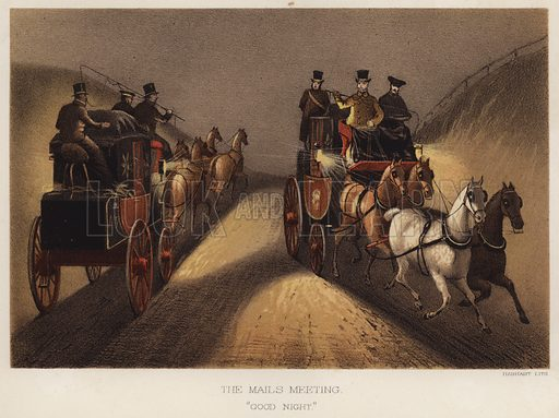 """The mails meeting, """"good night."""" Illustration for Annals of the Road, or Notes on Mail and Stage Coaching in Great Britain by Captain Mallet (Longmans Green, 1876)."""