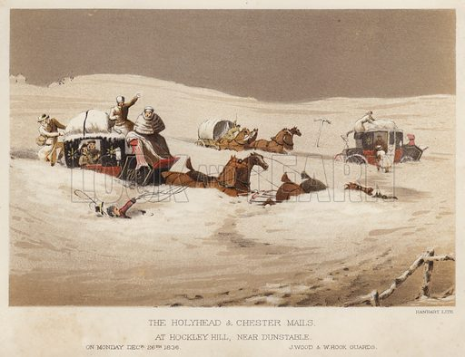 The Holyhead and Chester mails, at Hockley Hill, near Dunstable, on Monday, 26 December 1836, J Wood and W Hook, guards. Illustration for Annals of the Road, or Notes on Mail and Stage Coaching in Great Britain by Captain Mallet (Longmans Green, 1876).