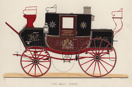 The mail coach. Illustration for Annals of the Road, or Notes on Mail and Stage Coaching in Great Britain by Captain Mallet (Longmans Green, 1876).