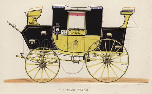 The stage coach. Illustration for Annals of the Road, or Notes on Mail and Stage Coaching in Great Britain by Captain Mallet (Longmans Green, 1876).
