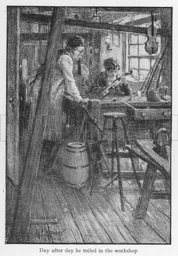 Day after day he toiled in the workshop. Illustration for Boyhood Stories of Famous Men illustrated by M L Bower (Harrap, c 1920).