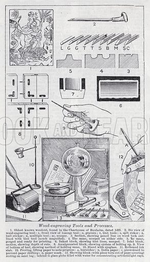Wood-engraving tools and processes. Illustration for The Harmsworth Encylopaedia (c 1922).