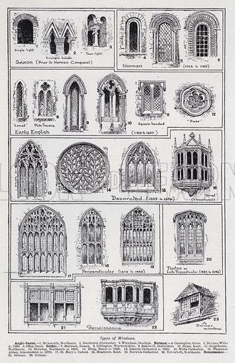 Types of windows. Illustration for The Harmsworth Encylopaedia (c 1922).