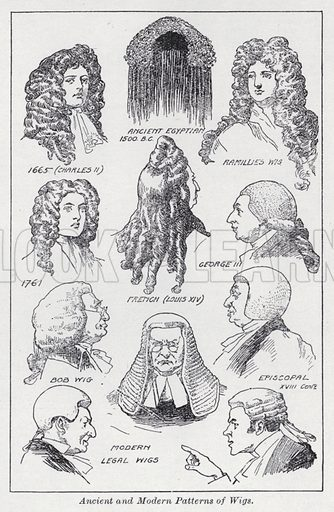 Ancient and modern patterns of wigs. Illustration for The Harmsworth Encylopaedia (c 1922).