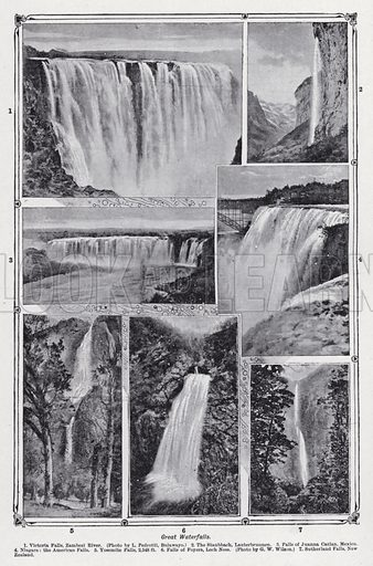 Great waterfalls. Illustration for The Harmsworth Encylopaedia (c 1922).