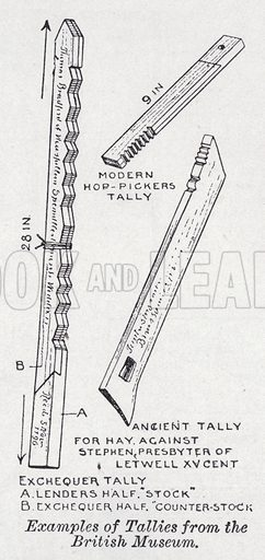 Examples of tallies from the British Museum. Illustration for The Harmsworth Encylopaedia (c 1922).