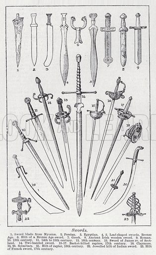 Swords. Illustration for The Harmsworth Encylopaedia (c 1922).