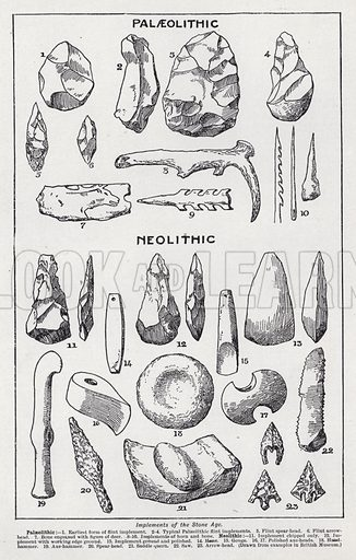 Implements of the Stone Age. Illustration for The Harmsworth Encylopaedia (c 1922).
