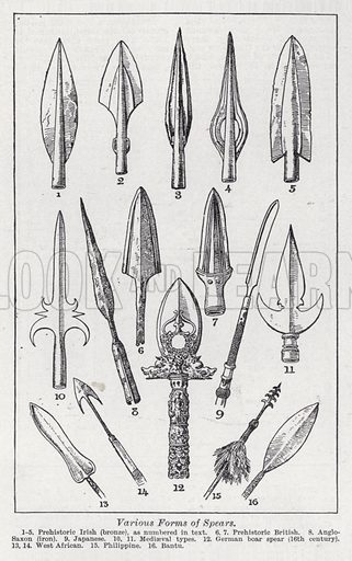 Various forms of spears. Illustration for The Harmsworth Encylopaedia (c 1922).