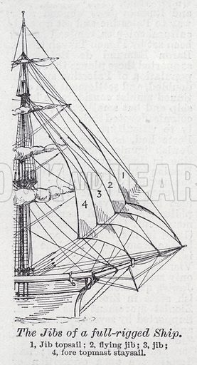 The jibs of a full-rigged ship. Illustration for The Harmsworth Encylopaedia (c 1922).