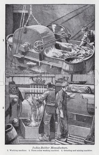 India-rubber manufacture. Illustration for The Harmsworth Encylopaedia (c 1922).