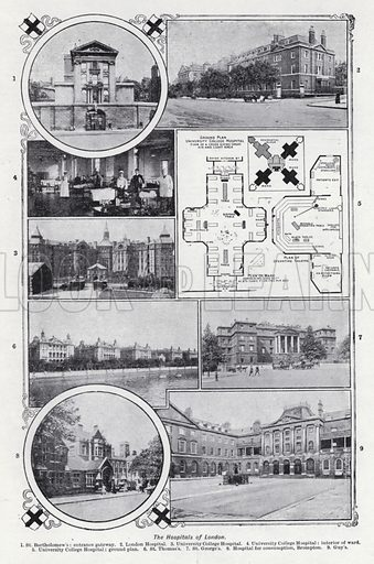 The hospitals of London. Illustration for The Harmsworth Encylopaedia (c 1922).