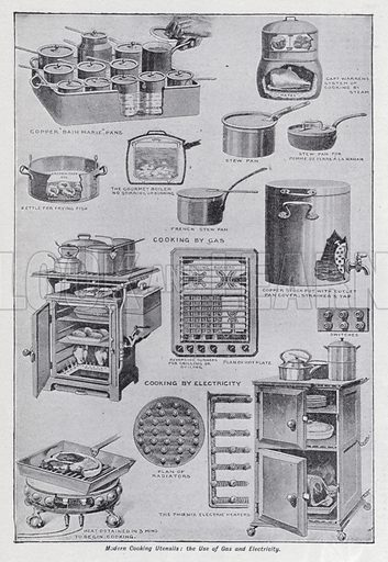 Modern cooking utensils, the use of gas and electricity. Illustration for The Harmsworth Encylopaedia (c 1922).