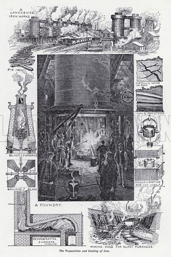 The preparation and casting of iron. Illustration for The Harmsworth Encylopaedia (c 1922).