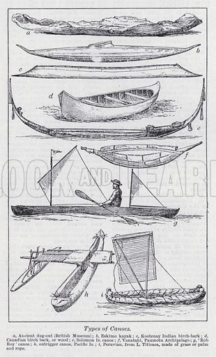 Types of canoes. Illustration for The Harmsworth Encylopaedia (c 1922).