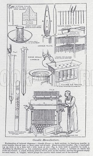 Candle manufacture. Illustration for The Harmsworth Encylopaedia (c 1922).