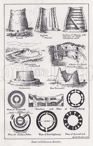 Some well-known brochs. Illustration for The Harmsworth Encylopaedia (c 1922).