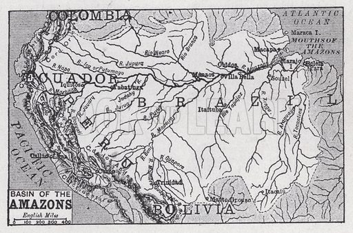 Basin of the Amazons. Illustration for The Harmsworth Encylopaedia (c 1922).