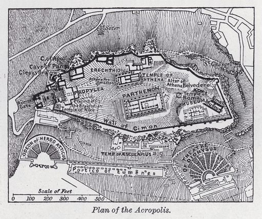 Plan of the Acropolis. Illustration for The Harmsworth Encylopaedia (c 1922).