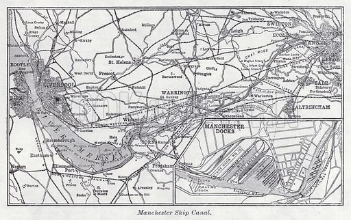 Manchester Ship Canal. Illustration for The Harmsworth Encylopaedia (c 1922).