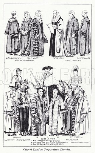 City of London Corporation Liveries. Illustration for The Harmsworth Encylopaedia (c 1922).