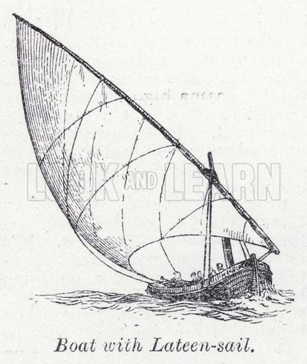 Boat with lateen-sail. Illustration for The Harmsworth Encylopaedia (c 1922).