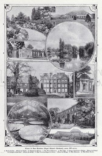 Views in Kew Garden, Royal Botanic Gardens, area 288 acres. Illustration for The Harmsworth Encylopaedia (c 1922).