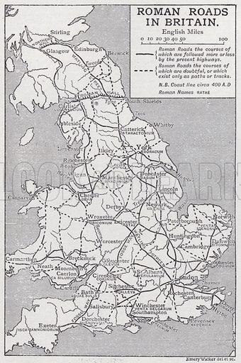 Roman roads in Britain.  Illustration for The Harmsworth Encylopaedia (c 1922).