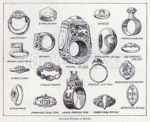 Ancient forms of rings. Illustration for The Harmsworth Encylopaedia (c 1922).